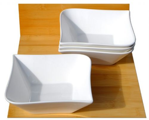 Contemporary serving bowls X 4 white L14cm x W14 x D5cm, and 20cm diagonally